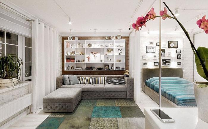 Нестандартний підхід до оформлення однокімнатної квартири від дизайнерів з Пермі